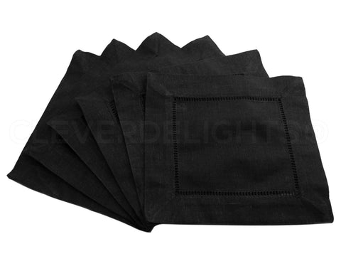 "6"" Hemstitch Cocktail Napkins - 100% Linen - Black"