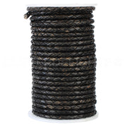 "1/8"" Braided Leather Bolo Cord - Distressed Black"