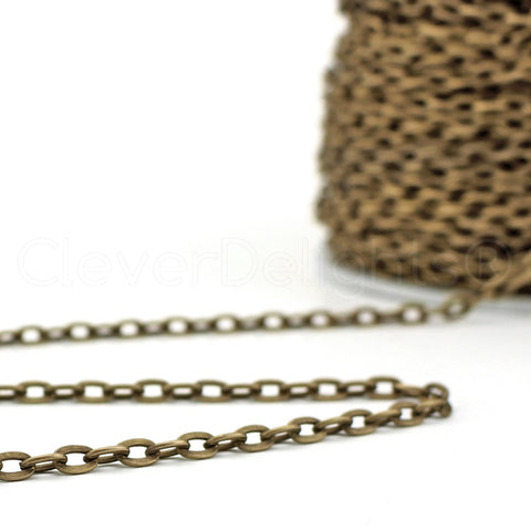 Cable Chain - 4x6mm Link - Antique Bronze Color