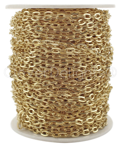 Bulk Cable Chain - 4x6mm Link - Champagne Gold Color
