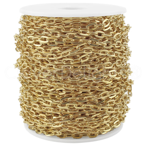 Bulk Cable Chain - 5x7mm Link - Champagne Gold Color