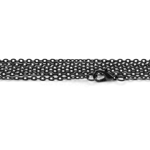 "2x3mm Cable Chain Necklaces - 24"" - Dark Black Color"