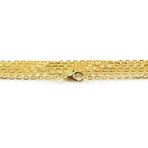 "2x3mm Cable Chain Necklaces - 24"" - Gold Color"