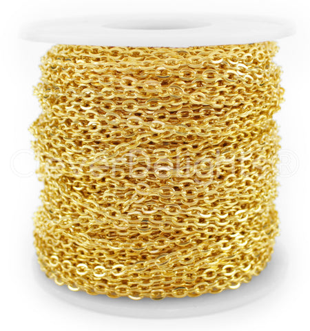 Cable Chain - 3x4mm Link - Gold Color