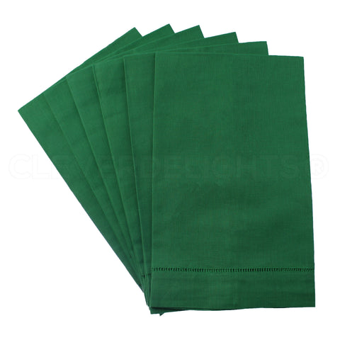 Hemstitched Fingertip Towels - Linen/Cotton Blend - Green