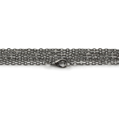 "2x3mm Cable Chain Necklaces - 24"" - Gunmetal Color"