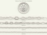 Cable Chain - 2x3mm Link - Platinum Silver Color
