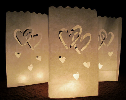Luminary Bags - Interlocking Hearts - White