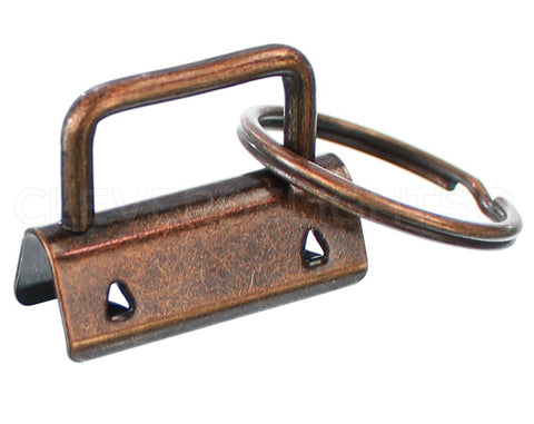 "1.25"" Key Fob Hardware Sets With Key Rings - Antique Copper Color"