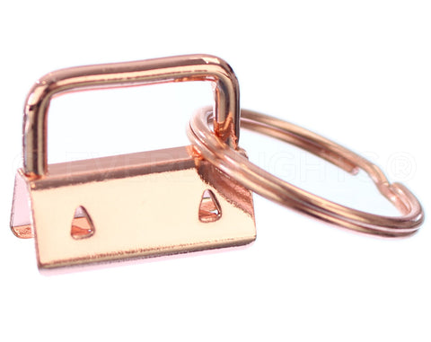 "1"" Key Fob Hardware Sets With Key Rings - Rose Gold Color"