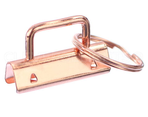 "1.5"" Key Fob Hardware Sets With Key Rings - Rose Gold Color"