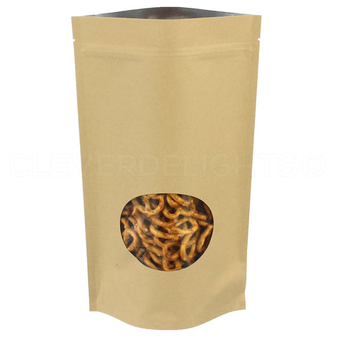 "Kraft Stand-Up Window Pouches - 16oz - 7"" x 11.5"" x 4"""