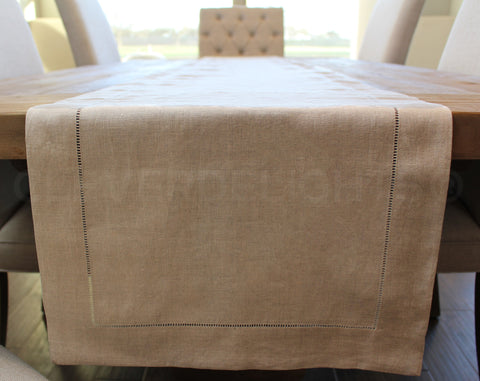 "16"" Hemstitch Table Runner - 100% Linen - Natural"