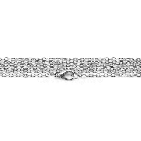 "2x3mm Cable Chain Necklaces - 24"" - Platinum Silver Color"