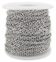 Cable Chain - 3x4mm Link - Platinum Silver Color