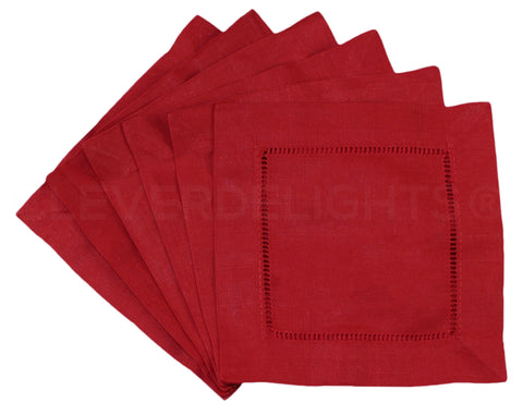 "6"" Hemstitch Cocktail Napkins - Linen/Cotton Blend - Red"