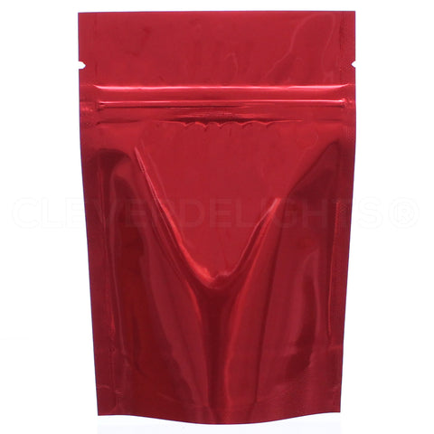 "Glossy Red Stand-Up Pouches - 2oz - 4"" x 6"" x 2"""