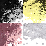 "3/8"" Round Shiny Confetti - Metallic Colors - Bulk 10oz Can"