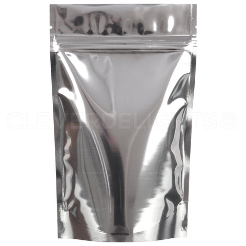 "Silver Stand-Up Pouches - 4oz - 5"" x 8"" x 2.5"""