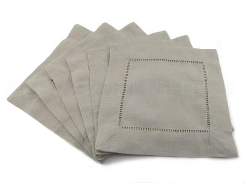 "6"" Hemstitch Cocktail Napkins - Linen/Cotton Blend - Stone"