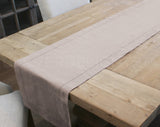 "16"" Hemstitch Table Runner - Linen/Cotton Blend - Stone"