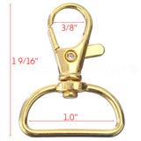 "1"" Wide Swivel Lobster Clasps With Key Rings - Gold Color"