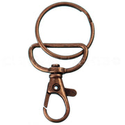 "1"" Wide Swivel Lobster Clasps With Key Rings - Antique Copper Color"