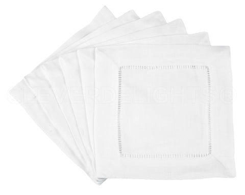 "6"" Hemstitch Cocktail Napkins - 100% Cotton - White"