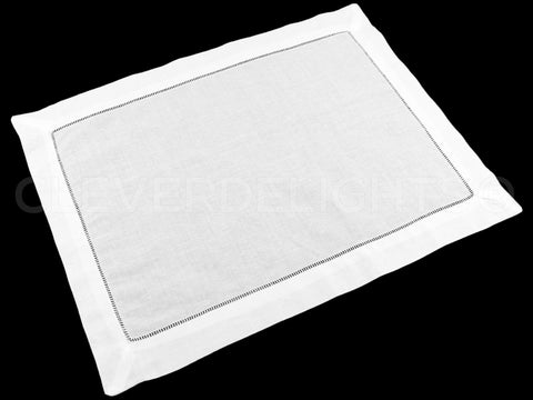 Hemstitch Placemats - 100% Linen - White