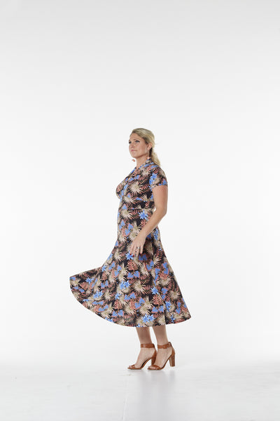 C34-NEW ARRIVALS - Printed Short Sleeve Dress