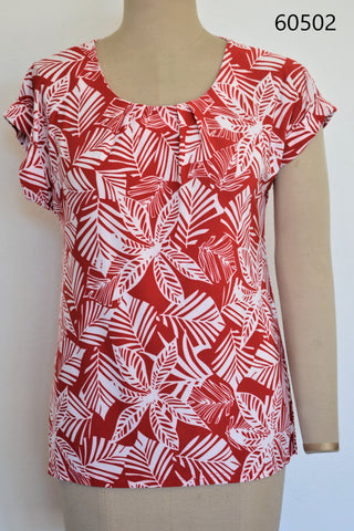 447 - Printed Box Pleat Top with Straight bottom
