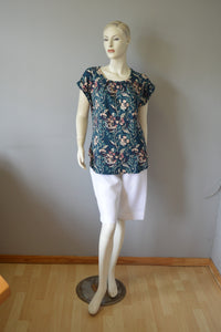 447 - Printed Box Pleat Top with Curved Bottom