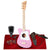 Loog Mini Acoustic Guitar (Pink) Comes Ready to Play with Regular Guitar Strings, 3 Notes, Standard Tuning Great for Riffing, with Lessons, Flashcards Great for Children w/ Basic Accessories Bundle
