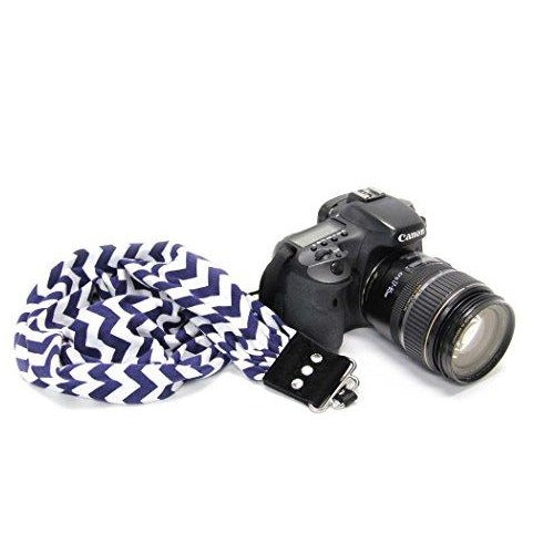 Stripe Navy and Fibertique Cloth Capturing Couture Scarf Camera Strap with Hidden Pocket