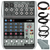 Behringer Xenyx Q802USB Premium 8-Input 2-Bus Mixer and Accessory Bundle with 6X Cables + Fibertique Cloth