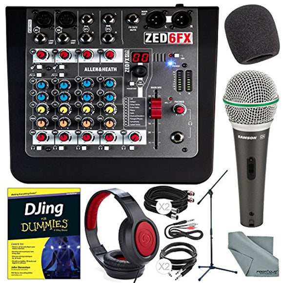 Allen & Heath ZED-6FX Compact 6-Input Analog Mixer with On-Board Effects Engine and Accessory Deluxe Bundle w/ Dynamic Mic + Stand + Headphones + DJing for Dummies + Much More - Thephotosavings