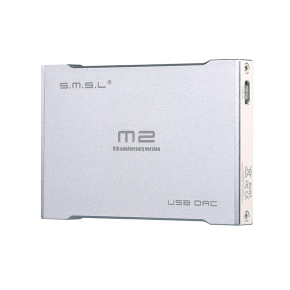 SMSL M2 Pro Portable USB DAC Built-in Headphone Amplifier External Sound Card Silver