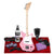 Loog Pro Electric Guitar (Pink) Comes Ready to Play with Regular Guitar Strings, 3 Notes, Standard Tuning Great for Riffing, with Lessons, Flashcards Great for Children w/ Basic Accessories Bundle