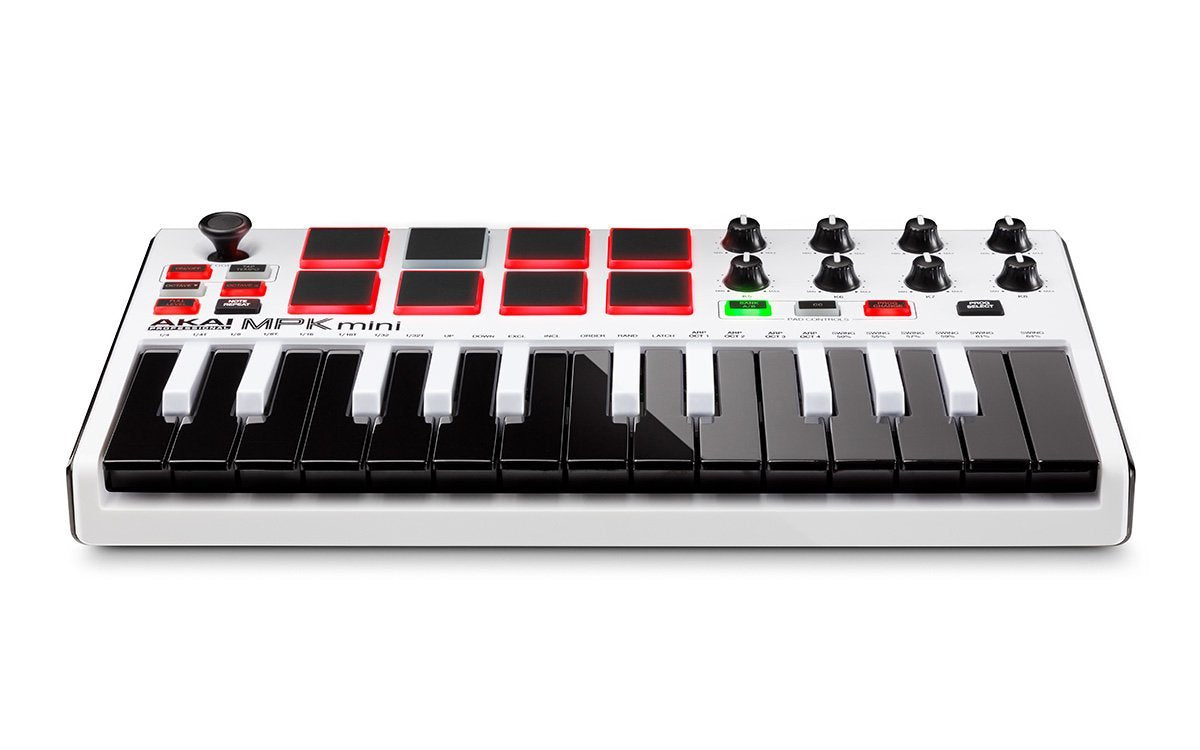 Akai Professional MPK Mini MKII White | 25-Key Ultra-Portable USB MIDI Drum  Pad & Keyboard Controller with Joystick, VIP Software Download Included -