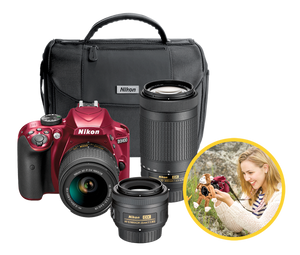 Nikon D3400 24.2 MP Triple Lens Ultimate Parent's Camera Kit, 3.0, Red
