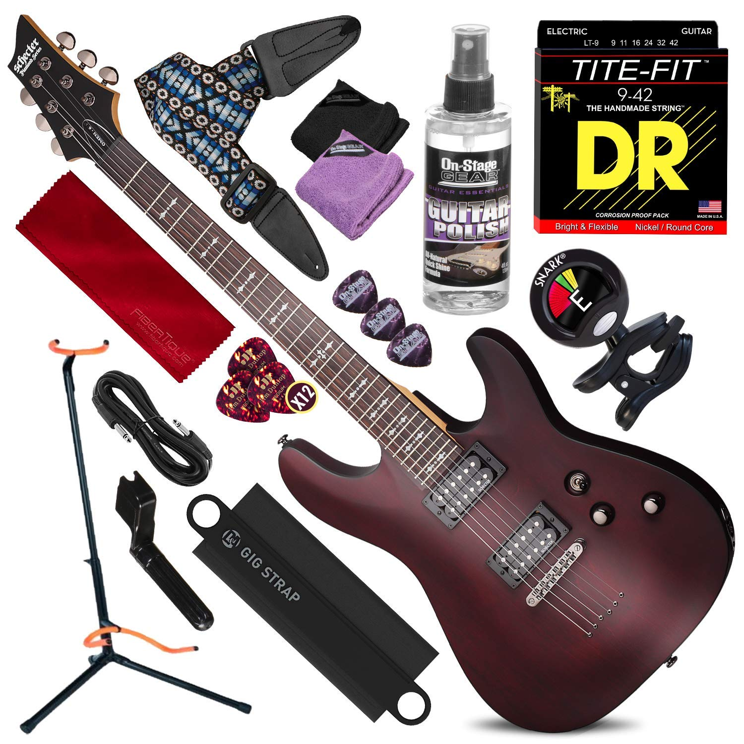 with Clip-On Tuner and Accessory Bundle Black Schecter OMEN-6 6-String Electric Guitar