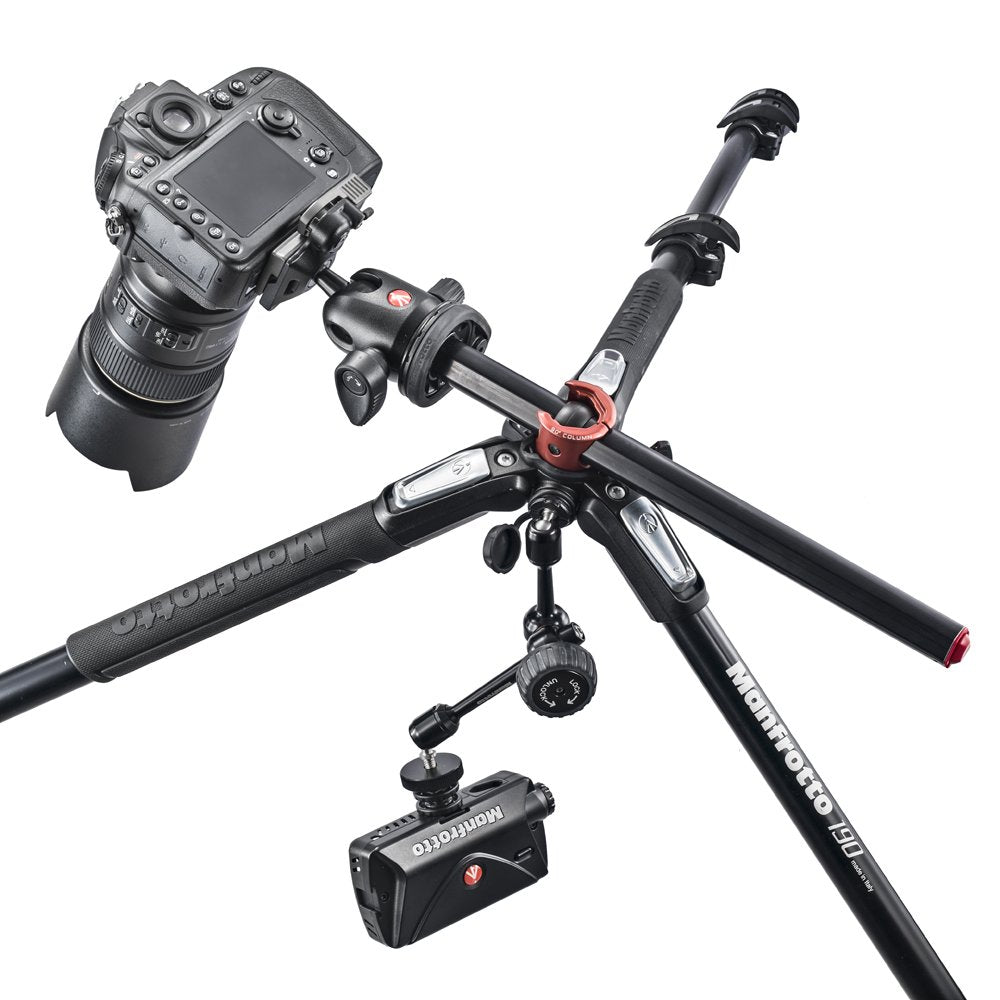 Black Manfrotto MK190XPRO3-BH 3 Section Aluminum Tripod Column q90 Ball Head with Quick Release