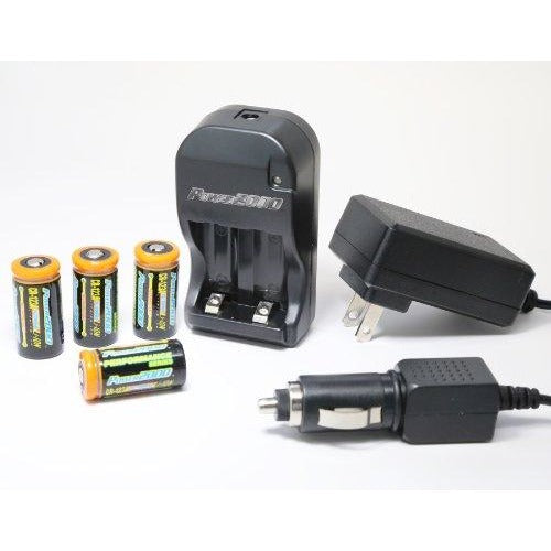 Power2000 XP-123A - (4) CR123A Lithium Rechargeable Batteries & 110/240V Rapid Charger - Thephotosavings