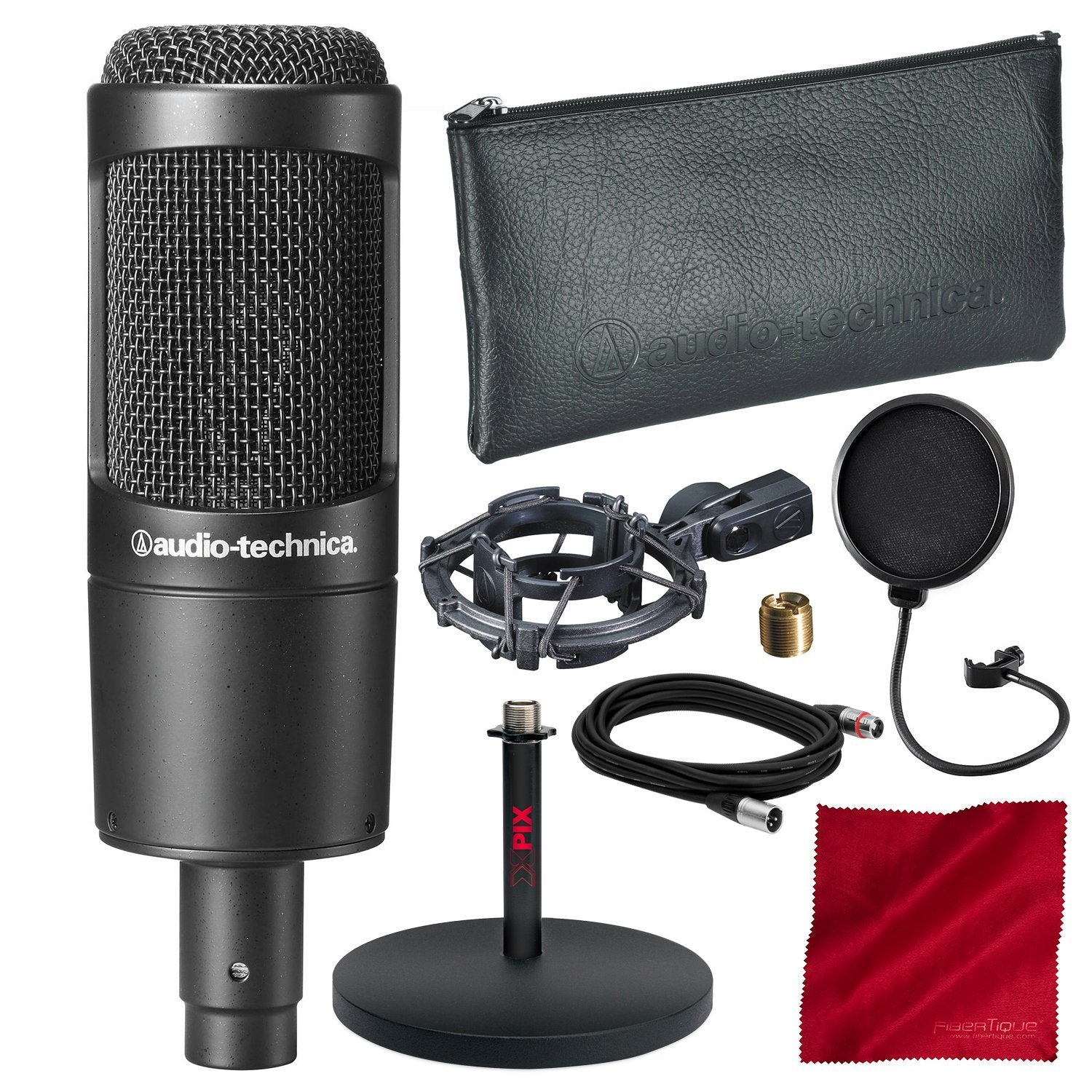 XLR Cable Audio Technica AT2035 Condenser Mic Mic Stand Pop Filter