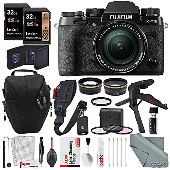Fujifilm X-T2 Mirrorless Digital Camera with 18-55mm Lens Deluxe Bundle w/ 32GB, Shoulder & Wrist Strap, 2.2x & .43x High-Definition Lenses and Xpix Lens Accessories - Thephotosavings