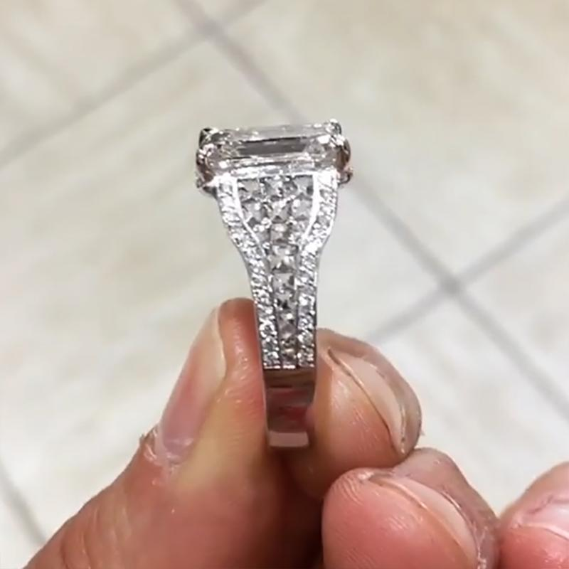 2.0 CT Diamond Emerald Cut Engagement Ring Wedding Band 925 Sterling Silver
