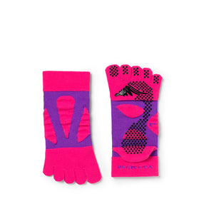 5 Toe Spider Arch Compression Mid Length Socks With Non-Slip Dots