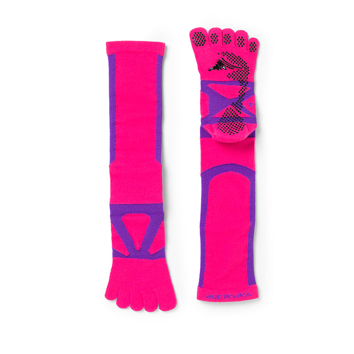 5 Toe Spider Arch Compression Long Socks with Non-Slip Dots