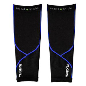 YAMAtune Calf Sleeves With Compression Support & Insect Shield® - Black/Blue