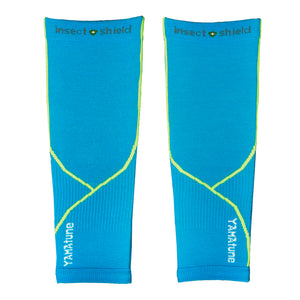 YAMAtune Calf Sleeves With Compression Support & Insect Shield® - Turquoise/Yellow